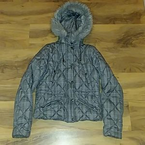 Plaid Puffer Coat - Size Small